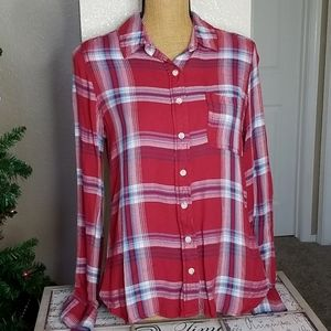 Mossimo Red & Blue Long Sleeve Button Up Top